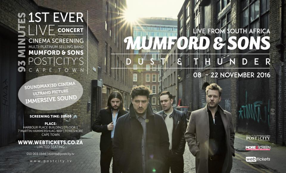 Mumford & Sons Live in South Africa Recording, Mastermax Studio's, Post|City Cape Town